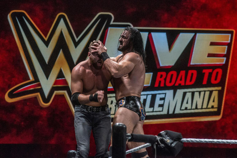 Dean Ambrose and Drew McIntyre fight it out on the top rope. WWE Live Road to Wrestlemania came to Garrett Coliseum in Montgomery on Sunday, Feb.   24, 2019. Ww54