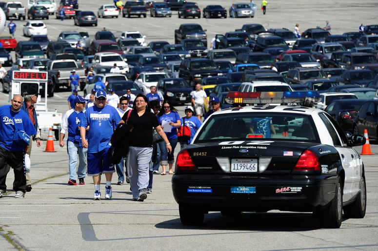 LOS ANGELES, CA - APRIL 10: Los Angeles Police Department officers patrol Dodger Stadium prior during the home opener against the Pittsburgh Pirates on April 10, 2012 in Los Angeles, California. Security was high at the stadium for the home opener after a
