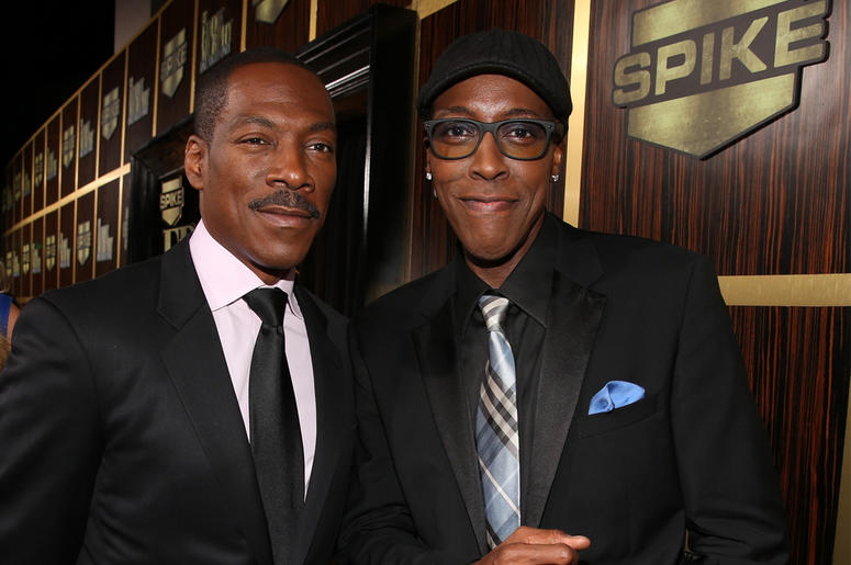 BEVERLY HILLS, CA - NOVEMBER 03: (L-R) Model Paige Butcher (not pictured), honoree Eddie Murphy and Arsenio Hall arrive at Spike TV's 'Eddie Murphy: One Night Only' at the Saban Theatre on November 3, 2012 in Beverly Hills, California. (Photo by Christoph