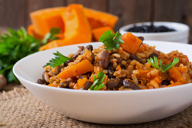 Vegan, Vegetable Pilaf With Haricot Beans And Pumpkin. Dinner, Homemade (Photo credit: Olena Danileiko)