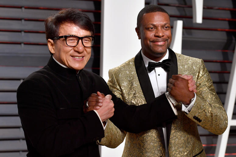 BEVERLY HILLS, CA - FEBRUARY 26: Actors Jackie Chan (L) and Chris Tucker attend the 2017 Vanity Fair Oscar Party hosted by Graydon Carter at Wallis Annenberg Center for the Performing Arts on February 26, 2017 in Beverly Hills, California. (Photo by Pasca
