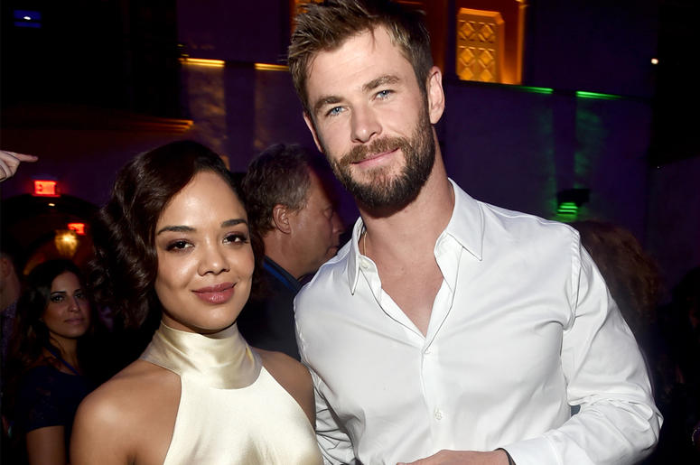 HOLLYWOOD, CA - OCTOBER 10: Actors Tessa Thompson (L) and Chris Hemsworth at The World Premiere of Marvel Studios' 'Thor: Ragnarok' at the El Capitan Theatre on October 10, 2017 in Hollywood, California. (Photo by Alberto E. Rodriguez/Getty Images for Dis