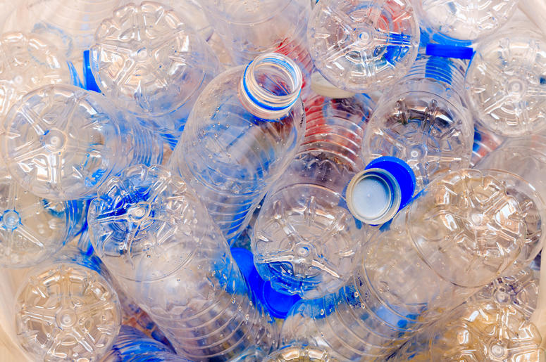 Used plastic bottles for recycling.