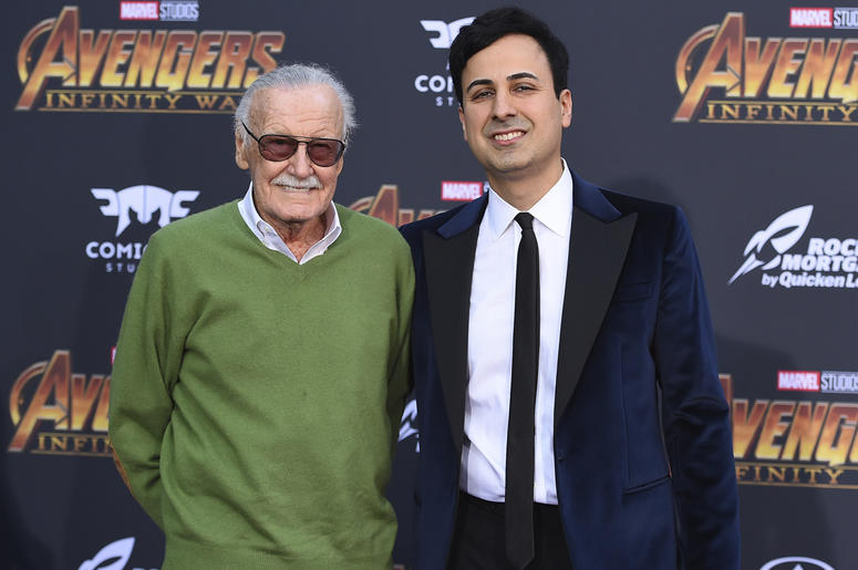 """In this April 23, 2018 file photo, Stan Lee, left, and Keya Morgan arrive at the world premiere of """"Avengers: Infinity War"""" in Los Angeles. Lee has taken out a restraining order against Morgan who had been acting as his business manager and close adviser."""