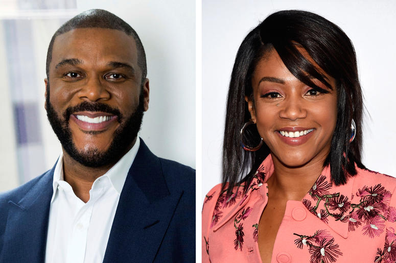 "This combination photo shows actor-filmmaker Tyler Perry in New York on Nov. 16, 2017, left, and comedian-actress Tiffany Haddish at the Turner Networks 2018 Upfront in New York on May 16, 2018. Perry, who cast Haddish in his upcoming comedy ""Nobody's Foo"