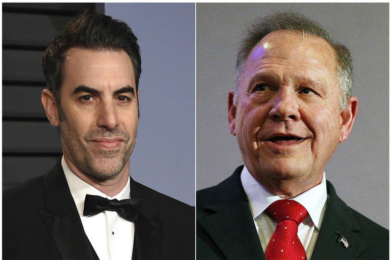 This combination photo shows Sacha Baron Cohen, left, at the Vanity Fair Oscar Party in Beverly Hills, Calif. on March 4, 2018, and former Alabama Chief Justice and U.S. Senate candidate Roy Moore at a news conference in Birmingham, Ala., on Nov. 16, 2017