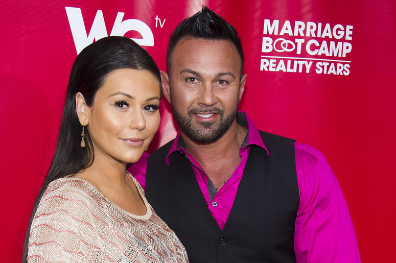 "In this May 29, 2014 file photo, Jenni ""JWoww"" Farley and Roger Mathews attend WE tv's ""Marriage Boot Camp: Reality Stars"" party in New York. Farley of the hit reality television show ""Jersey Shore"" has filed for divorce from her husband of less than thre"