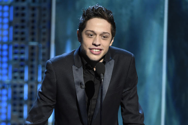"""In this March 14, 2015, file photo, Pete Davidson speaks at a Comedy Central Roast at Sony Pictures Studios in Culver City, Calif. Texas Republican congressional candidate Dan Crenshaw has chided """"Saturday Night Live"""" comic Davidson for poking fun of the"""