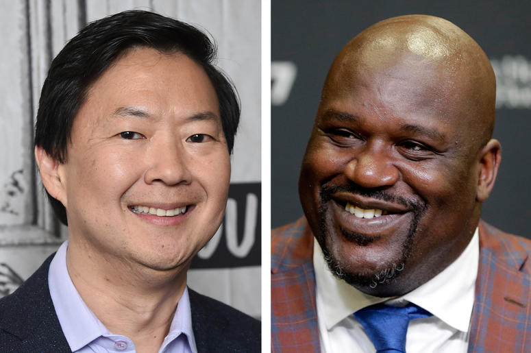 """This combination photo shows actor Ken Jeong at the BUILD Speaker Series to discuss the film """"Crazy Rich Asians"""" in New York on Aug. 14, 2018, left, and retired Hall of Fame basketball player Shaquille O'Neal during an NBA basketball news conference in Mi"""