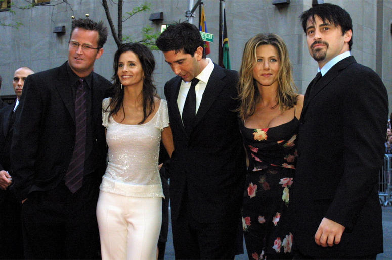 "In this May 5, 2002 file photo, the cast members, Matthew Perry, from left, Courteney Cox Arquettte, David Schwimmer, Jennifer Aniston and Matt LeBlanc of the television show ""Friends,"" arrive at New York's Rockefeller Center for NBC's 75th Anniversary ev"