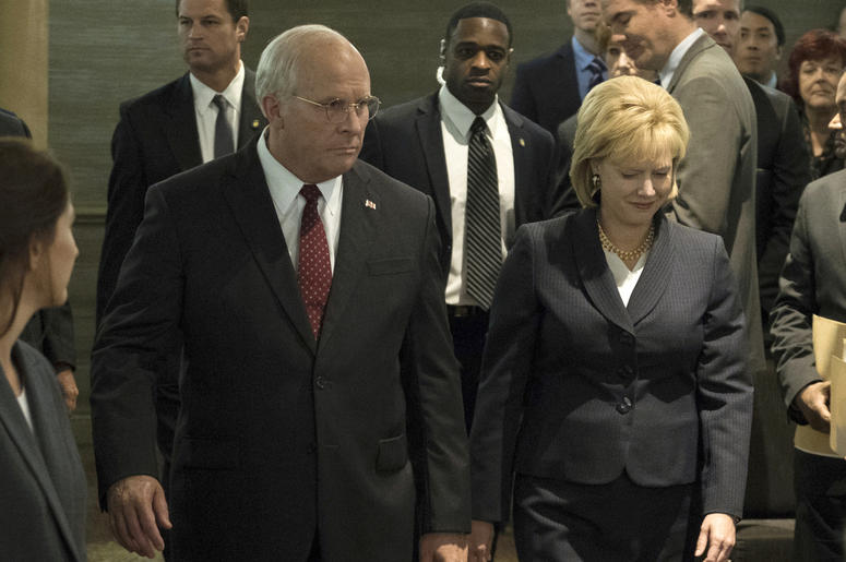 """This image released by Annapurna Pictures shows Christian Bale as Dick Cheney, left, and Amy Adams as Lynne Cheney in a scene from """"Vice."""" On Thursday, Dec. 6, 2018, the film was nominated for a Golden Globe award for best motion picture musical or comedy"""