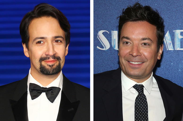"""This combination photo shows actor Lin-Manuel Miranda at the """"Mary Poppins Returns"""" premiere in London on Dec. 12, 2018, left, and TV late night host Jimmy Fallon at the opening night of """"Summer: The Donna Summer Musical"""" in New York on April 23, 2018. """"T"""