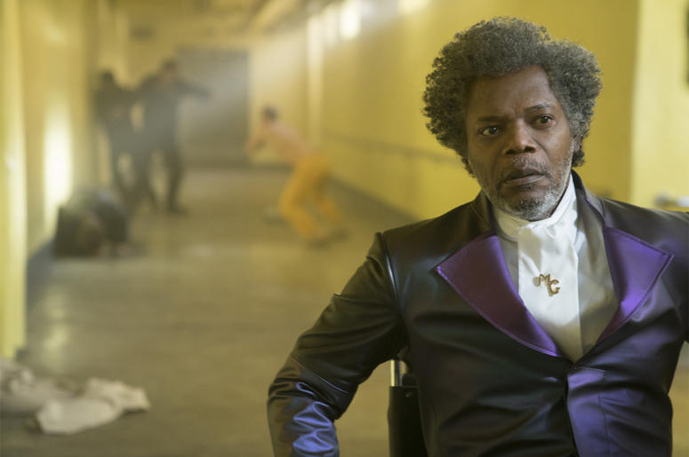"This image released by Universal Pictures shows Samuel L. Jackson in a scene from M. Night Shyamalan's ""Glass."" (Jessica Kourkounis/Universal Pictures via AP)"