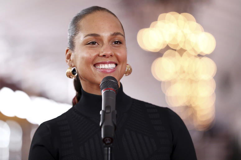 Host Alicia Keys speaks to the media after rolling out the red carpet for the 61st annual Grammy Awards on Thursday, Feb. 7, 2019, in Los Angeles. The 61st Grammy Awards will be held on Sunday, Feb. 10. (Photo by Matt Sayles/Invision/AP)