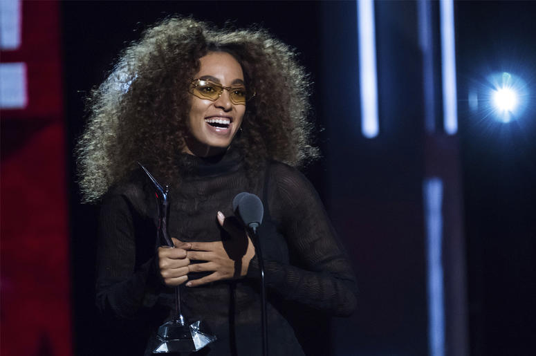 In this Aug. 5, 2017, file photo, honoree Solange Knowles attends the Black Girls Rock! Awards at the New Jersey Performing Arts Center in Newark, N.J.  (Photo by Charles Sykes/Invision/AP, File)
