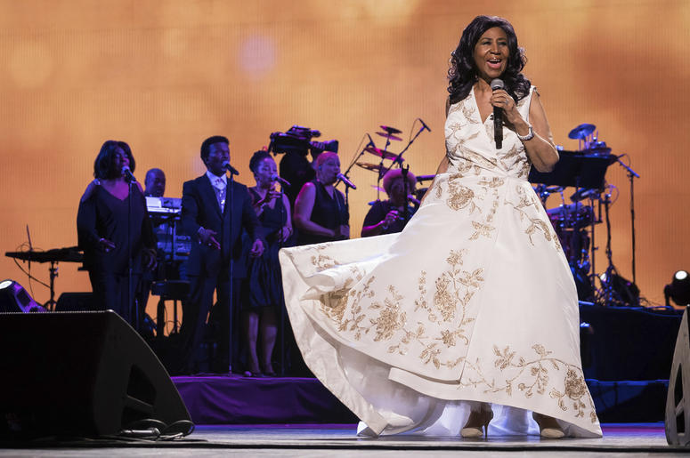 """In this April 19, 2017, file photo, Aretha Franklin performs at the world premiere of """"Clive Davis: The Soundtrack of Our Lives"""" during the 2017 Tribeca Film Festival in New York. (Photo by Charles Sykes/Invision/AP, File)"""