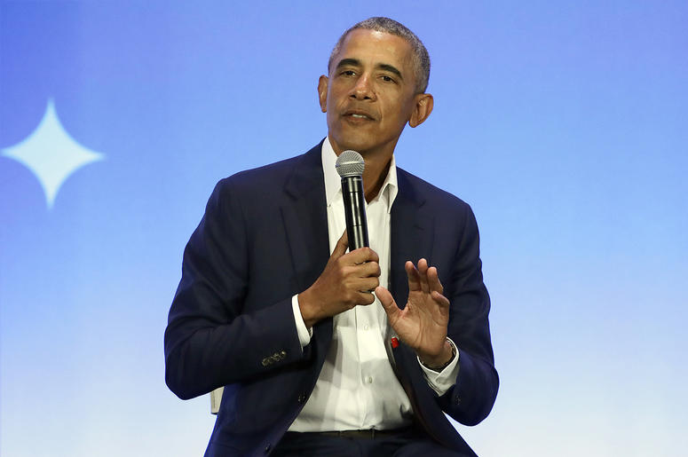This Feb. 19, 2019, file photo shows former President Barack Obama speaking at the My Brother's Keeper Alliance Summit in Oakland. (AP Photo/Jeff Chiu, File)