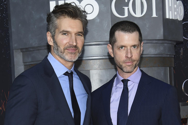 """In this Wednesday, April 3, 2019, file photo, creator/executive producers David Benioff, left, and D. B. Weiss attend HBO's """"Game of Thrones"""" final season premiere at Radio City Music Hall in New York. (Photo by Evan Agostini/Invision/AP, File)"""