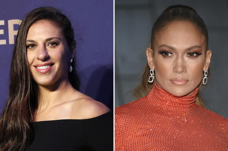 In this combination of file photos Carli Lloyd smiles prior to the women's soccer World Cup France 2019 draw, in Boulogne-Billancourt, outside Paris, on Dec. 8, 2018 and Jennifer Lopez attends the CFDA Fashion Awards at the Brooklyn Museum on June 3, 2019