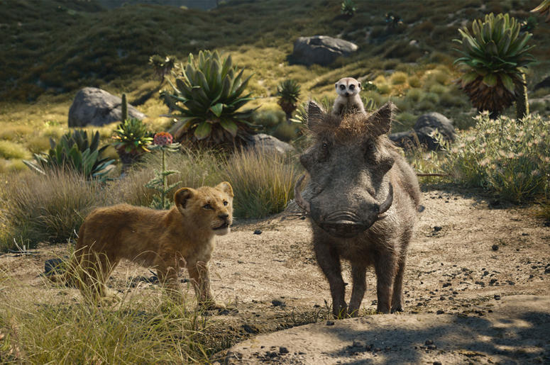 """This file image released by Disney shows, from left, young Simba, voiced by JD McCrary, Timon, voiced by Billy Eichner, and Pumbaa, voiced by Seth Rogen, in a scene from """"The Lion King."""" (Photo credit: Disney via AP, File)"""