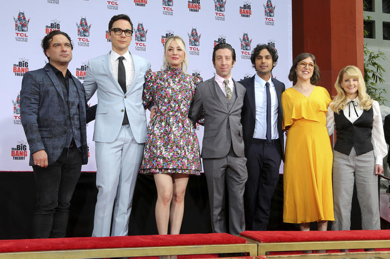 """In this May 1, 2019, file photo, Johnny Galecki, from left, Jim Parsons, Kaley Cuoco, Simon Helberg, Kunal Nayyar, Mayim Bialik and Melissa Rauch, cast members of the TV series """"The Big Bang Theory,"""" pose at a hand and footprint ceremony at the TCL Chines"""