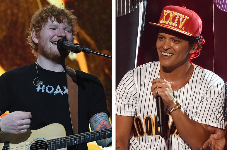 Ed Sheeran and Bruno Mars (Photo credit: Ron Elkman/USA Today Network/Frank Micelotta/PictureGroup)