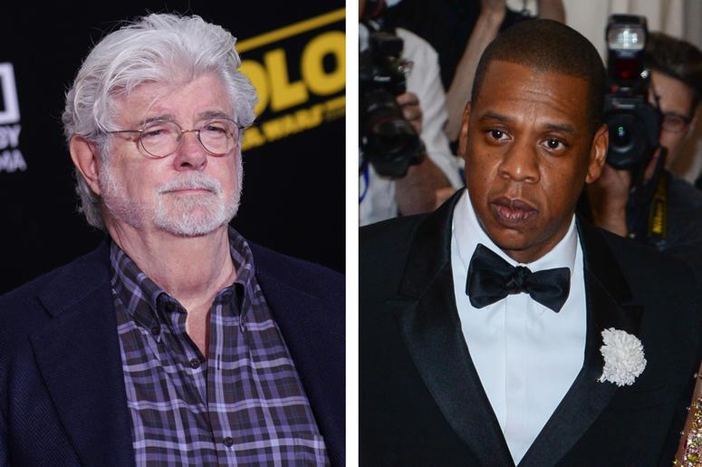 George Lucas and Jay-Z (Photo credit: JC Olivera/Anthony Behar/Sipa USA)