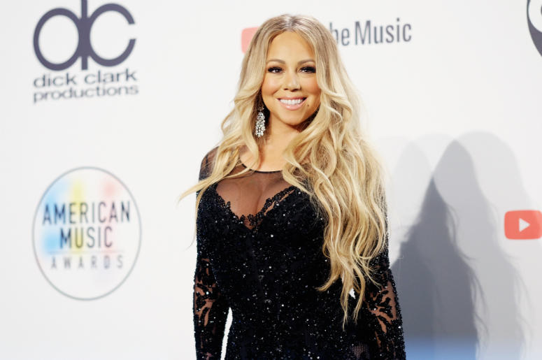 Mariah Carey poses in the press room during the 2018 American Music Awards at Microsoft Theater on October 9, 2018