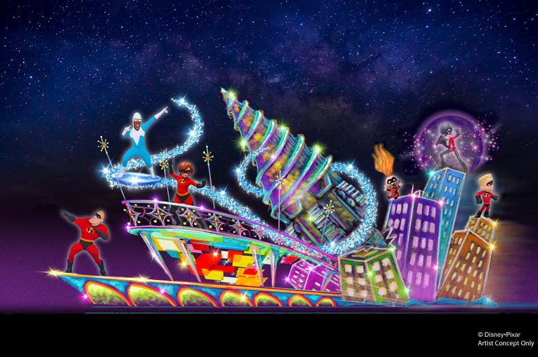 NEW INCREDIBLES-THEMED FLOAT FOR 'PAINT THE NIGHT' PARADE