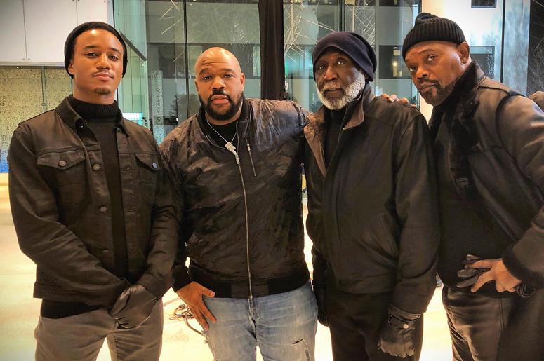 Jessie T. Usher, Isaac Hayes III, Richard Roundtree and Samuel L. Jackson