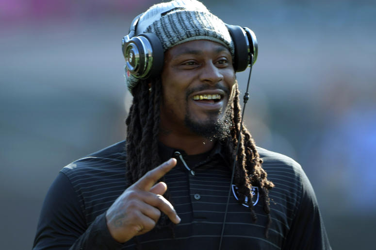 Aug 31, 2017; Oakland, CA, USA; Oakland Raiders running back Marshawn Lynch reacts during a NFL football game against the Seattle Seahawks at Oakland-Alameda County Coliseum. Mandatory Credit: Kirby Lee-USA TODAY Sports