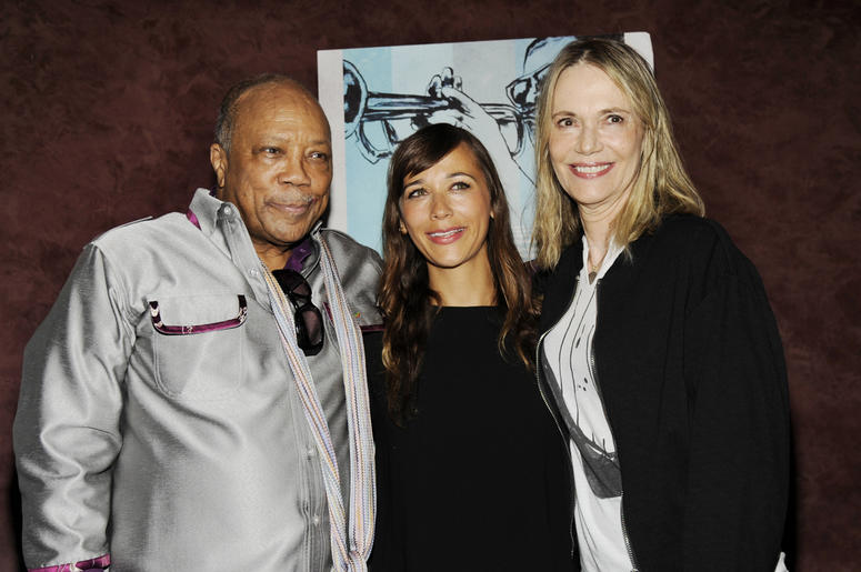 """In this Sept. 17, 2014 file photo, Quincy Jones, left, a producer of the documentary film """"Keep On Keepin' On,"""" poses with ex-wife Peggy Lipton, right, and their daughter Rashida Jones at the premiere of the film at Landmark Theatres in Los Angeles. (Phot"""