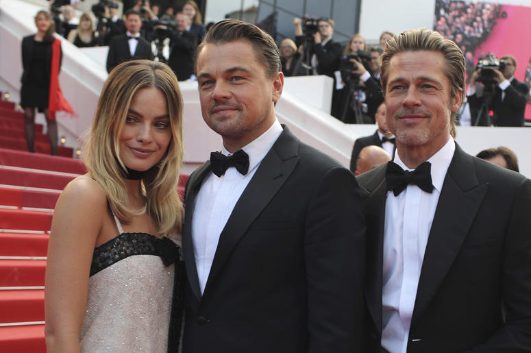 Actors Margot Robbie from left, Leonardo DiCaprio and Brad Pitt poses for photographers upon arrival at the premiere of the film 'Once Upon a Time in Hollywood' at the 72nd international film festival, Cannes, southern France, Tuesday, May 21, 2019. (AP P