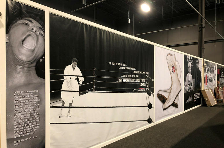 The Muhammad Ali museum-style exhibit an exhibition hall at the Graceland tourist attraction on Wednesday, May 22, 2019, in Memphis, Tennessee. (AP Photo/Adrian Sainz)