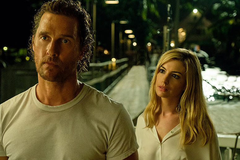 "Matthew McConaughey and Anne Hathaway in ""Serenity"" (Photo credit: Graham Bartholomew/Universal Pictures)"