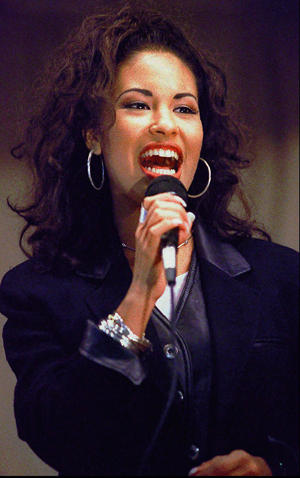 Tejano singer Selena Quintanilla Perez sings at the Cunningham Elementary School. George Gongora/Corpus Christi Caller via USA Today Network