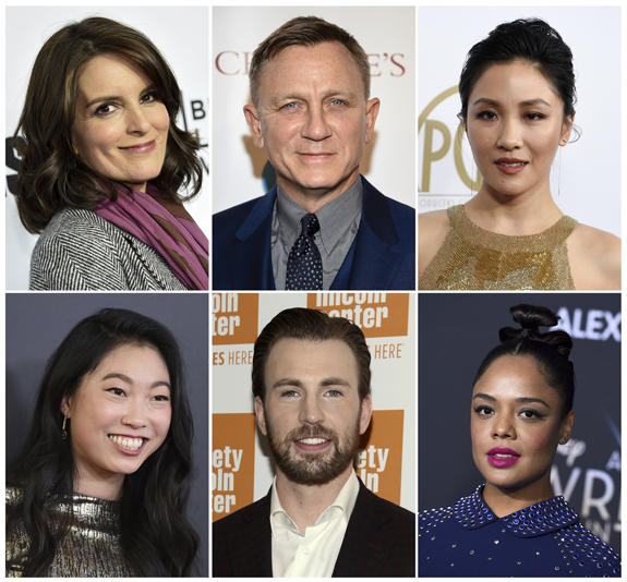 This combination photo shows, top row from left, Tina Fey, Daniel Craig, Constance Wu, and bottom row from left, Awkwafina, Chris Evans and Tessa Thompson, who will be presenters at the 91st Academy Awards on Feb. 24. (AP Photo)