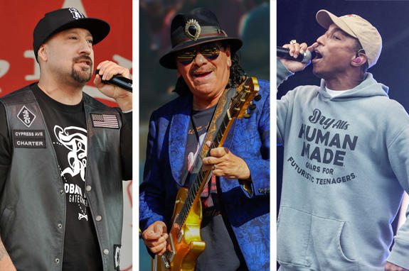B-Real of Cypress Hill, Carlos Santana and Pharrell Williams (Photo credits: Jason L Nelson/AdMedia/Richard Gray/EMPICS Katja Ogrin/Sipa USA)
