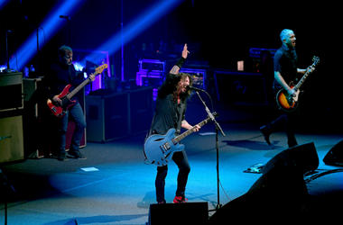 Nate Mendel, Dave Grohl and Pat Smear of the Foo Fighters perform onstage at DIRECTV Super Saturday Night 2019