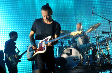 Colin Greenwood, Thom Yorke and Philip Selway of Radiohead
