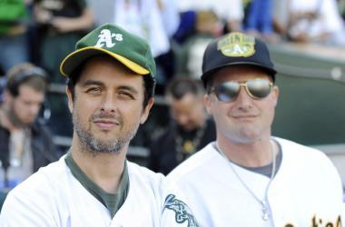 Billie Joe Armstrong and Tre Cool at an Oakland A's game.
