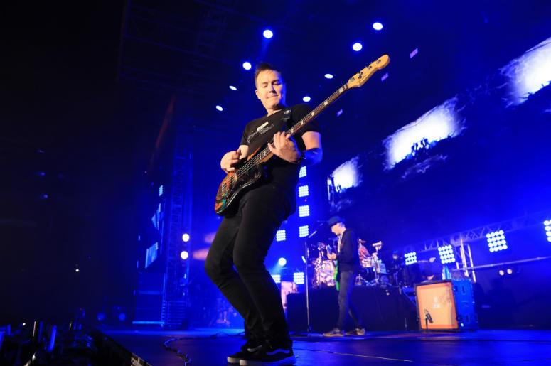 Mark Hoppus of blink-182 performs onstage at KROQ Weenie Roast 2018 at StubHub Center on May 12, 2018