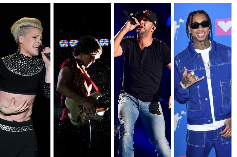 Pink, The Strokes, Luke Bryan, Tyga
