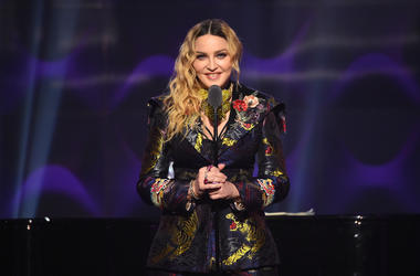 Madonna speaks on stage at the Billboard Women in Music 2016 event on December 9, 2016