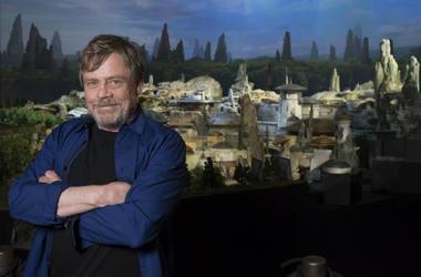 actor Mark Hamill visits Galaxy's Edge, the new Star Wars-themed land