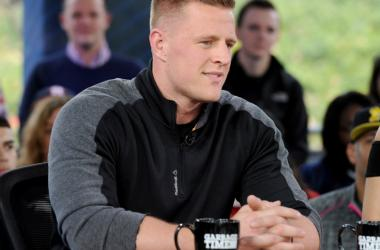 """JJ Watt on Fox Sports """"Garbage Time with Katie Nolan"""" broadcasting from Super Bowl LI on February 3, 2017 in Houston, Texas."""