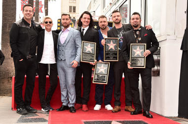 Carson Daly, Ellen Degeneres, Lance Bass, JC Chasez, Joey Fatone, Justin Timberlake and Chris Kirkpatrick at a ceremony honoring 'NSYNC with a star on the Hollywood Walk of Fame on April 30, 2018 in Hollywood, California
