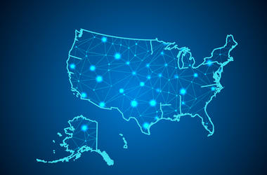 Abstract mash line and point scales on dark background with Map of usa. Wire frame 3D mesh polygonal network line, design sphere, dot and structure. communications map of usa.