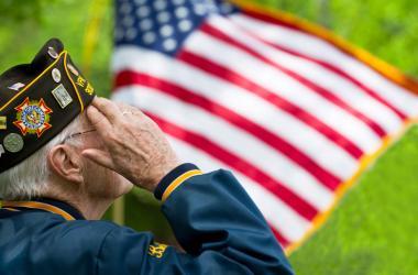 Veteran Saluting Flag for Memorial Day