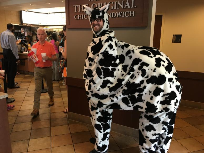 Producer David and Intern Jeannine in a 2 Person Cow Costume